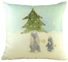 "Evans Lichfield Rabbit Hare Winter Snow Christmas Tree Stars Filled Cushion 17"""