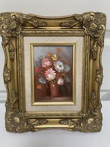 Oil Painting Still Life Flowers Signed Robert Lox Gilt Framed Original