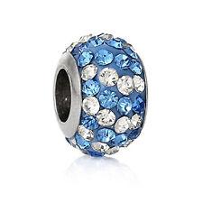 Stainless Steel European Style Charm Beads Round Silver Tone Blue Rhinestone