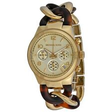 Michael Kors Runway Twisted Chronograph Two Tone Gold Acetate 38mm Watch