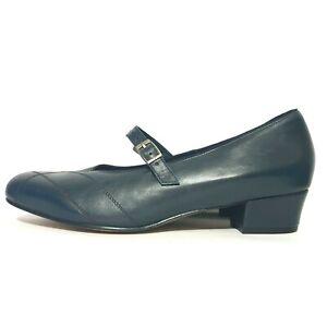NEW Kumfs Shoes Sz 10 XW Navy Blue Mary Jane Low Heel Pump Comfort Work Office