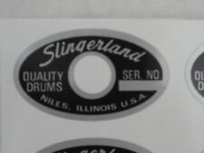 Slingerland type vinyl shell badg/decals. EIGHT copies. With grommit hole.