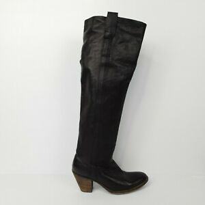 Frye Women's Knee High Boots Leather Black Heel Made In Mexico Size 9B