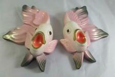 Pair Vintage 1970 Miller Studio Chalkware Pink & Black Angel Fish Wall Plaques