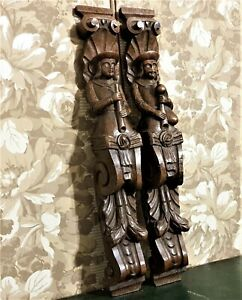 Pair musician wood carving corbel bracket antique french architectural salvage