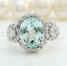4.97 Carat Natural Blue Aquamarine and Diamonds in 14K Solid White Gold Ring