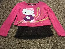 Hello Kitty Youth Girl Long Sleeve Cotton Pink Top Shirt Size 10 12