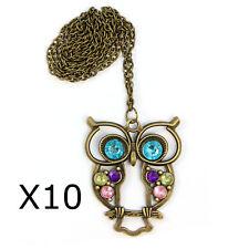 10x Wholesale Joblot Resale Vintage Crystal OWL Pendant Long Chain Necklace