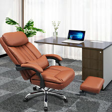 Executive Computer Desk Office Task Chair Ergonomic Ribbed High Back Pu Leather