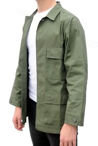 Military Field Jacket American US Army Style BDU Green USA Ripstop Cotton Shirt