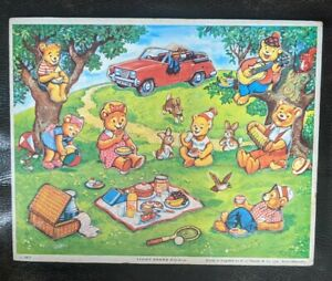 Vintage Wooden Child's Puzzle, Teddy Bears Picnic, GJ Hayter, 1977, Made England