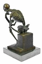 European Design Bronze Statuettes - Skull Skeleton Thinker Bookend Book End SALE