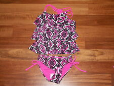 NWT JUSTICE GIRL SWIMSUIT 2 PC TANKINI HOT PINK BLACK WHITE DESIGN SIZE 5 NEW