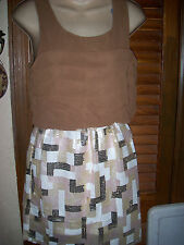 Dani Collection~NWT's sz M Brown& white geometric print sequins sleeveless dress