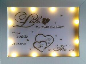 Geschenk HOCHZEIT / Liebe viele Varianten Leuchtrahmen LED Bilderrahmen