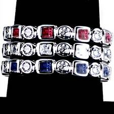 3-RING COMBO #3_GEOMETRIC CZ ETERNITY BAND RINGS_SIZE-9__925 STERLING SILVER