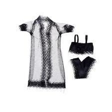Barbie Doll Black Sexy Lingerie Nightwear Lace Long Coat + Bra +Underwear Cloth>