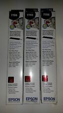 3 Genuine Epson 7755 Black Printer Ribbons L750; LQ200/300.