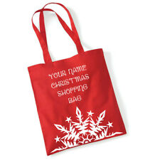 Personalised Name Christmas Shoulder Shopping Bag Red with superflex vinyl print