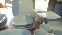 Blue Stoneware Dinnerware Set Studio Colortone Blue Service for 8 NWOT 7 bowls