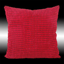 SIMPLE SOFT RED VELVET CHECKED DECO THROW PILLOW CASE CUSHION COVER 17""