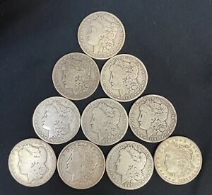 HALF ROLL (10) OF CIRCULATED MORGAN SILVER DOLLARS MIXED DATES FROM 1878 - 1921