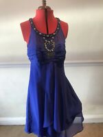 Silk Cocktail Party Dress Blue Embroided Floral Sparkle Size 14 Monsoon Rrp £120