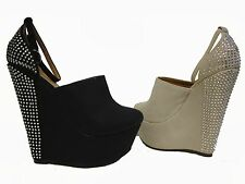 Black Beige Rhinestone Wedge Ankle Strap Clogs Heels Pumps Shoes