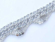 5 Yards Silver Crocheted Trim with Sequins Ribbon Braid Lace metallic lurex