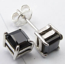 925 Pure Silver SQUARE CUT BLACK ONYX 4-Prong Lovely Stud Post Earrings 0.5 CM