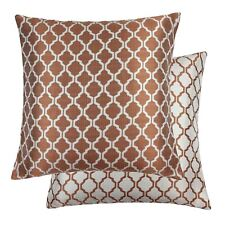 "JACQUARD MOROCCAN-STYLE PATTERNED ORANGE WHITE 22"" - 55CM CUSHION COVER"