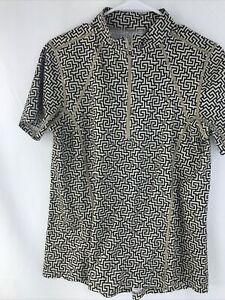 Kerrits Large 1/2 Zip Top Equestrian Riding Shirt Short Sleeve Geometric Print