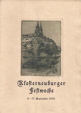 1. KLOSTERNEUBURGER FESTWOCHE 1950 Einladung mit Radierung von J.F. BENESCH
