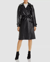 $732 Apparis Women's Black Priya Faux Leather Belted Trench Coat Jacket Size S