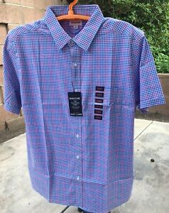 New Mens Haggar Tuckless Woven With Stretch Short Sleeve Shirt Checked Soft! XL