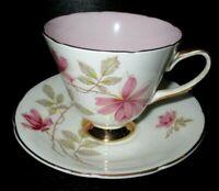 VINTAGE OLD ROYAL BONE CHINA ENGLAND PORCELAIN TEA CUP & SAUCER, PINK FLORAL