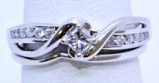 Helzberg 10K Solid White Gold Princess Diamond 1/3ctw Bridal Wedding Ring Set