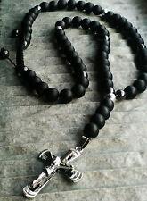 Halskette Kreuz Jesus Anhänger Onyx perlen Hämatit Rosenkranz Schmuck herren