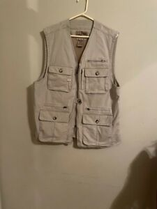 L L Bean Fishing Vest Photography Men's Large M Mesh Lined New Tan