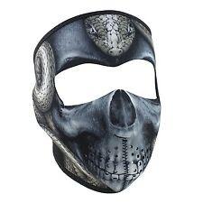 Black Grey Snake Skin Skull Neoprene Full Face Mask Biker Reversible To Black