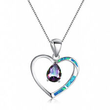 Fashion Lady Silver Heart Rainbow Blue Artificial Opal Pendant Necklace Jewelry
