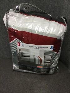 Bedroom Bedding Set Red Stripe Bed in a Bag Comforter Bed Skirt Sham Full M84E