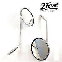 2FastMoto Long Stem Mirror 8mm Pair Chrome Cruiser Chopper Harley Davidson