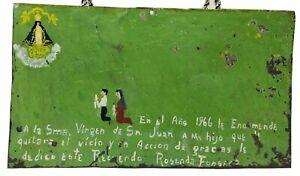VTG Ex Voto Retablo Tin Mexican Folk Art Painting,1966 Mexico Catholic Christian
