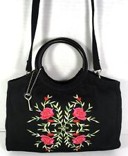 Fossil Forever Small Black Fabric with Rose Print Handbag Shoulder Bag