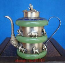 Collectible Handmade Carving Silver & Jade Inlaid Teapot 12 Zodiacs