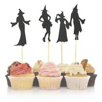 8pcs Happy Halloween Cake Toppers Witch Cupcake Flags for Halloween Cake Decor