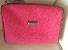 TOMMY HILFIGER COSMETIC BAG PINK LOGO BROWN TRIM  RETAIL-36 NWT