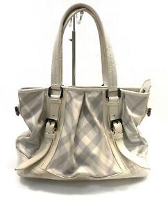 Burberry Satchel Bag Nova Check Plaid Large Shoulder Handbag