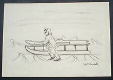 Robert Mayokok original alaska drawing, ink ,mid 20th c, listed(#1)